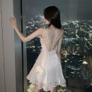 Dress Summer 2021 Grey, white S,M,L Short skirt singleton  Sleeveless commute One word collar High waist Solid color Socket Princess Dress camisole 18-24 years old Type H Other / other Lace up, open back 51% (inclusive) - 70% (inclusive) polyester fiber