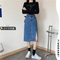 skirt Summer 2021 S M L XS blue Mid length dress Retro High waist Denim skirt Solid color Type H 18-24 years old More than 95% other Yinggang other Make old Other 100% Pure e-commerce (online only)