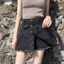 Jeans Spring 2021 Light blue, black, black grey S,M,L,XL,2XL shorts High waist Wide legged trousers Button, wash, fold, other 31% (inclusive) - 50% (inclusive)