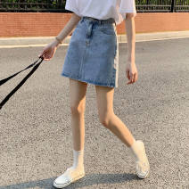 skirt Summer 2021 S,M,L,XL 001 light blue, 001 black grey, 001 black Short skirt commute High waist A-line skirt 18-24 years old 31% (inclusive) - 50% (inclusive) other YSX other Button, solid color