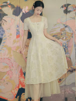 Dress Summer 2021 Light apricot S,M,L,XL longuette Two piece set Short sleeve commute square neck High waist Decor Single breasted Big swing routine Others 18-24 years old Type A Button 3885# Chiffon