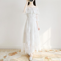 Dress Spring 2021 white S,M,L,XL longuette singleton  elbow sleeve Sweet One word collar Elastic waist Solid color Socket Big swing pagoda sleeve Others 18-24 years old Type A Gouhua hollow 81% (inclusive) - 90% (inclusive) Lace other Mori