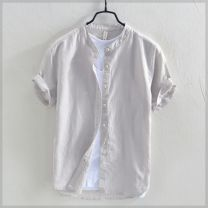 shirt Yereisurpsy Youth fashion routine stand collar Short sleeve easy Other leisure Four seasons R30142 youth Youthful vitality Flax 55% cotton 45% Solid color Linen Non iron treatment Button decoration M. L, XL, 2XL, 3XL, 4XL, other it