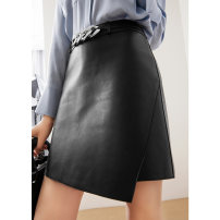 skirt Summer 2021 M L XL 2XL Classic black off white Khaki Short skirt commute High waist A-line skirt Solid color Type A 30-34 years old More than 95% Sheepskin DOLLYMODA other zipper Sheepskin