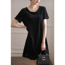 Dress Summer 2021 Fashion Black S M L XL longuette singleton  Short sleeve commute Crew neck Loose waist stripe Socket A-line skirt routine 30-34 years old Type H DOLLYMODA Splicing 71% (inclusive) - 80% (inclusive) cotton Cotton 74% polyester 26%
