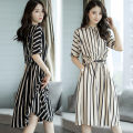 Dress Summer 2021 White, black, white sling 009 M,L,XL,2XL,3XL longuette singleton  Short sleeve commute stand collar Elastic waist stripe Socket other raglan sleeve Type H Other / other