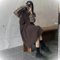 Dress Autumn 2020 7995 Plaid shirt-0187995 deep coffee-27j, 7995 plaid shirt + 7995 deep coffee-233 Average size longuette Two piece set Long sleeves commute Doll Collar Loose waist Socket A-line skirt routine Others 18-24 years old Other / other Korean version Button E4D1D3070 other