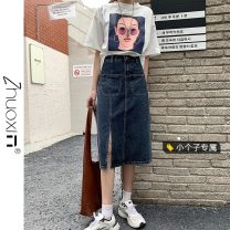 skirt Summer 2021 XS S M L Retro Blue Gray off white Mid length dress Versatile High waist Denim skirt other Type A 18-24 years old More than 95% Denim Zhuoxin other pocket Other 100% Pure e-commerce (online only)