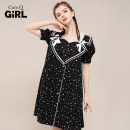 Dress Spring 2021 black S M L Mid length dress singleton  Short sleeve commute Crew neck middle-waisted other A button A-line skirt Others 18-24 years old Type A Cute.q/qiute Bow tie tie tie button CG120021 More than 95% polyester fiber Polyester 100%