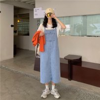 Women's large Korean version routine other straps Summer 2021 commute Two piece set Dress Medium and long term 8133 denim strap skirt Short sleeve moderate Solid color Conjoined body Crew neck easy Denim Stereoscopic cutting pocket Medium and long term
