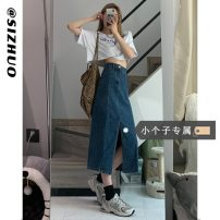 skirt Summer 2021 XS S M L Blue (priority for collection and purchase) Mid length dress commute High waist A-line skirt Solid color Type A 18-24 years old More than 95% Si Zhuo other Korean version Other 100% Pure e-commerce (online only)