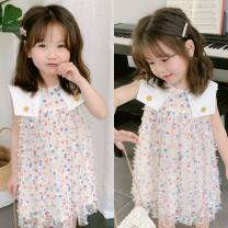 Dress milky white female Other / other 90cm,100cm,110cm,120cm,130cm Other 100% summer Korean version Solid color Cotton blended fabric Princess Dress Class B 11, 13