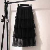 skirt Summer 2020 M,L,XL,2XL black Mid length dress Sweet High waist Pleated skirt Solid color Type A 91% (inclusive) - 95% (inclusive) nylon Nail bead, yarn net