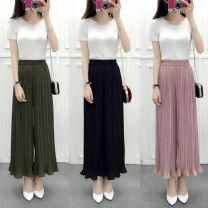 Casual pants 8114 black, 8114 army green, 8114 lotus pink, 8114 treasure blue Average size Summer 2017 Wide leg pants High waist commute Thin money 18-24 years old 96% and above he Cotton blended fabric Korean version fold