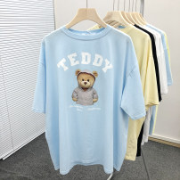 T-shirt White, black, yellow, blue, purple Average size Summer 2021 Short sleeve Crew neck easy Regular routine commute cotton 86% (inclusive) -95% (inclusive) 18-24 years old Korean version film Cartoon, animation, letters printing