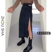 skirt Summer 2021 S M L XS Light blue gray black Mid length dress commute High waist Denim skirt Solid color Type A 18-24 years old More than 95% Denim Zhesha other Korean version Other 100% Pure e-commerce (online only)