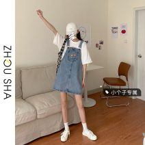 Dress Summer 2021 Grey light blue S M L XS Middle-skirt singleton  Sleeveless commute One word collar High waist Solid color Socket A-line skirt straps 18-24 years old Type H Zhesha Korean version Pocket strap 226# More than 95% Denim other Other 100% Pure e-commerce (online only)