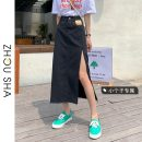 skirt Summer 2021 S M L XS Blue black grey Mid length dress commute High waist A-line skirt Solid color Type A 18-24 years old More than 95% Denim Zhesha other Make old Korean version Other 100% Pure e-commerce (online only)
