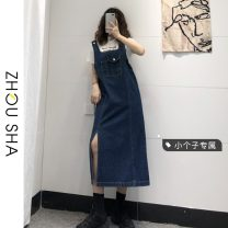 Dress Summer 2021 blue S M L XS Mid length dress singleton  Sleeveless commute One word collar High waist Solid color Socket A-line skirt straps 18-24 years old Type H Zhesha Korean version pocket More than 95% Denim other Other 100% Pure e-commerce (online only)