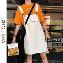 Dress Summer 2021 White black S M L XS Short skirt singleton  Sleeveless commute One word collar High waist Solid color A-line skirt straps 18-24 years old Type H Zhesha Korean version More than 95% Denim other Other 100% Pure e-commerce (online only)