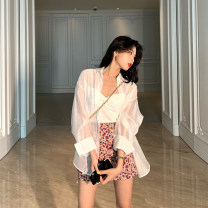 Lace / Chiffon Summer 2020 white , White shirt + White sling S,M,L,XL Long sleeves commute Cardigan singleton  Straight cylinder Regular Polo collar Solid color routine 18-24 years old Other / other XZKDFSXX692 bow Korean version 81% (inclusive) - 90% (inclusive)