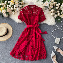 Dress Fall 2017 Black, white, red L,XL,2XL Middle-skirt singleton  Short sleeve commute Crew neck High waist Solid color Socket Big swing routine Others 18-24 years old Type A Korean version Strap, button 31% (inclusive) - 50% (inclusive) other other