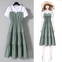 Women's large Spring 2021 Green, blue, black, white bra Large L, large XL, m, 2XL, 3XL, 4XL Dress Fake two pieces commute easy Socket Short sleeve Korean version Crew neck Medium length routine Other / other 18-24 years old 31% (inclusive) - 50% (inclusive) Medium length Cake skirt