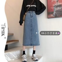 skirt Summer 2021 S M L XS blue Mid length dress commute High waist A-line skirt Solid color Type A 18-24 years old More than 95% tIHIk other Korean version Other 100%