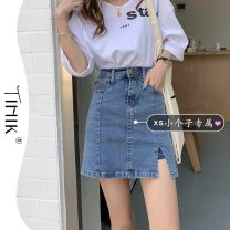 skirt Summer 2021 M L XS S blue Short skirt commute High waist A-line skirt Solid color Type A 18-24 years old More than 95% tIHIk other Korean version Other 100%