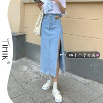 skirt Summer 2021 S M L XS Black light blue Mid length dress commute High waist A-line skirt Type A 18-24 years old More than 95% tIHIk other Korean version Other 100%