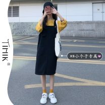 Dress Summer 2021 Strapless skirt S M L XS Middle-skirt commute Solid color A-line skirt straps 18-24 years old Type A tIHIk Korean version More than 95% other Other 100%