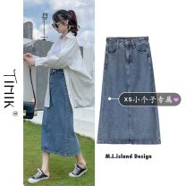 skirt Summer 2021 S M L XS Picture color Mid length dress commute High waist Denim skirt Solid color Type A 18-24 years old More than 95% other tIHIk other Korean version Other 100%