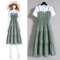 Dress Spring 2021 Green, blue, black Mid length dress singleton  Short sleeve routine