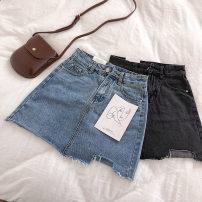 skirt Summer 2021 S,M,L Black, blue Short skirt commute High waist A-line skirt Solid color Type A 18-24 years old 91% (inclusive) - 95% (inclusive) Denim Ocnltiy cotton Korean version