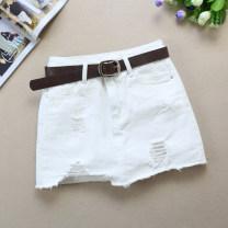skirt Summer 2021 S (belt) , M (belt) , L (belt) , XL (belt) , XXL (belt) White, black Short skirt Versatile Denim skirt Solid color Type A 18-24 years old Denim Ocnltiy cotton Holes, hand worn, pockets, asymmetric, buttons, zippers, stitching