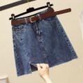 skirt Summer 2021 S,M,L,XL,2XL Black, blue Short skirt commute High waist Denim skirt Solid color Type A More than 95% Denim Ocnltiy other Korean version