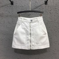 skirt Summer 2021 S,M,L,XL White, apricot Short skirt commute High waist skirt Solid color Type H More than 95% Denim Ocnltiy cotton Pocket, zipper Korean version
