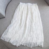 skirt Summer 2021 S, M Milky white, black fresh Natural waist Pleated skirt Type A More than 95% Chiffon Ocnltiy other