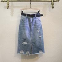 skirt Summer 2021 S,M,L,XL,2XL,3XL blue longuette commute High waist A-line skirt letter Type A More than 95% Denim Ocnltiy cotton Holes, hand abrasion, printing Korean version