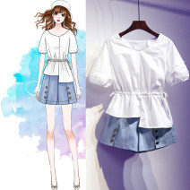 Women's large Summer 2021 Two piece set Large XL, large L, large 2XL, large 3XL, large 4XL Two piece set commute easy moderate Socket Short sleeve Korean version High collar routine Three dimensional cutting routine Ocnltiy 25-29 years old Short skirt