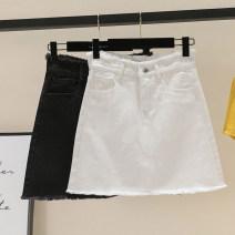 skirt Summer 2021 S,M,L,XL,2XL,3XL,4XL,5XL White, black Short skirt commute High waist Denim skirt Solid color Type A 18-24 years old Denim Other / other Hand abrasion Korean version