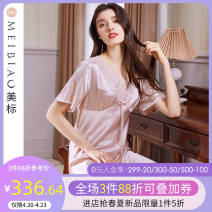 Nightdress American Standard 020758 grey powder 160(M) 165(L) 170(XL) 175(XXL) luxurious Short sleeve Leisure home Short skirt summer Solid color youth V-neck silk lace More than 95% silk Summer 2021 Mulberry silk 100% Same model in shopping mall (sold online and offline)