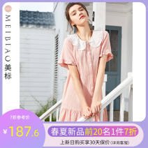 Nightdress American Standard 160(M) 165(L) 170(XL) 175(XXL) Simplicity Short sleeve Leisure home Middle-skirt summer Solid color youth Crew neck cotton Lotus leaf edge More than 95% Woven cotton fabric Summer 2021 Cotton 100% Same model in shopping mall (sold online and offline)