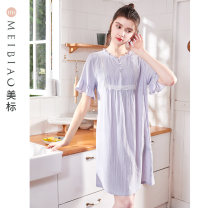 Nightdress American Standard 97816 grey blue 160(M) 165(L) 170(XL) 175(XXL) Sweet Short sleeve Leisure home Middle-skirt summer Solid color youth V-neck cotton lace More than 95% Woven cotton fabric Summer 2021 Cotton 100% Same model in shopping mall (sold online and offline)