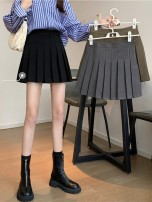 skirt Summer 2021 S,M,L,XL Grey, black, card Short skirt commute High waist Pleated skirt Solid color Type A 18-24 years old 71% (inclusive) - 80% (inclusive) CABENETFRANC fold Korean version