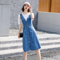 Dress Summer 2021 Picture color M L XL longuette singleton  Sleeveless commute Crew neck High waist Solid color Socket A-line skirt routine straps 25-29 years old Type A Lai cabinet Korean version Button More than 95% Denim cotton Cotton 100% Pure e-commerce (online only)