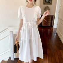 Women's large Summer 2021 white S M L XL XXL Dress singleton  commute Socket Short sleeve Solid color Korean version Crew neck Medium length puff sleeve 8131@ Polygonatum 18-24 years old Medium length Other 100% Pure e-commerce (online only) other