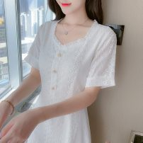 Dress Summer 2021 white S M L XL longuette singleton  Short sleeve commute V-neck High waist Solid color Socket A-line skirt routine Others 18-24 years old Type A Polygonatum Korean version Button Ax83zY More than 95% other other Triacetate fiber (triacetate fiber) 100% Pure e-commerce (online only)