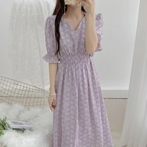 Women's large Summer 2021 Purple and apricot flowers S M L XL Dress singleton  commute Socket Short sleeve Decor Korean version V-neck Medium length routine Polygonatum 18-24 years old longuette Other 100% Pure e-commerce (online only) Princess Dress
