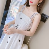 Women's large Summer 2021 white L XL S M singleton  commute Sleeveless Solid color Korean version One word collar Medium length other routine Polygonatum 18-24 years old 96% and above Medium length Other 100% Pure e-commerce (online only) Princess Dress zipper